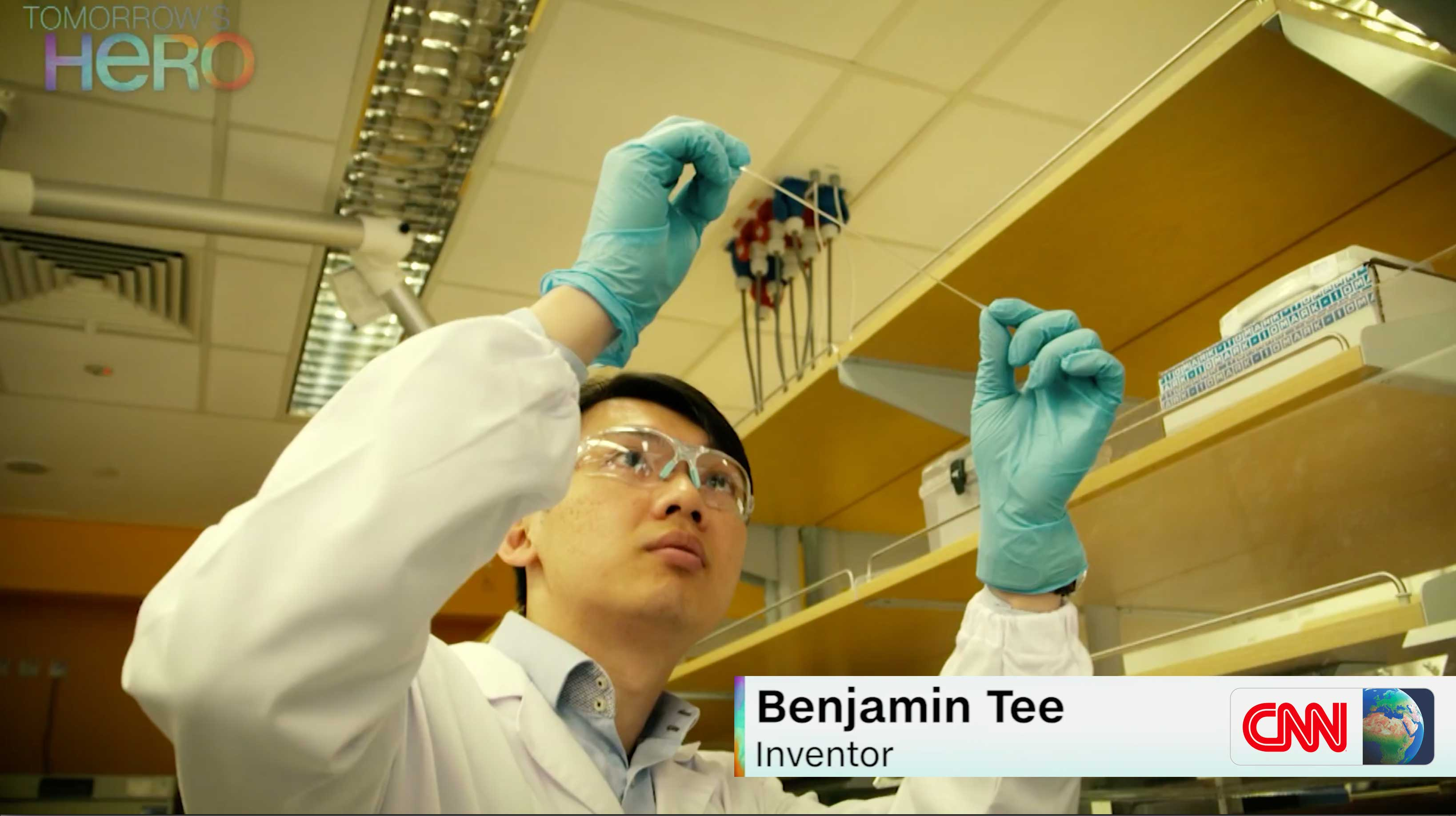 Benjamin Tee featured by CNN International on Electronic Skin Research Work